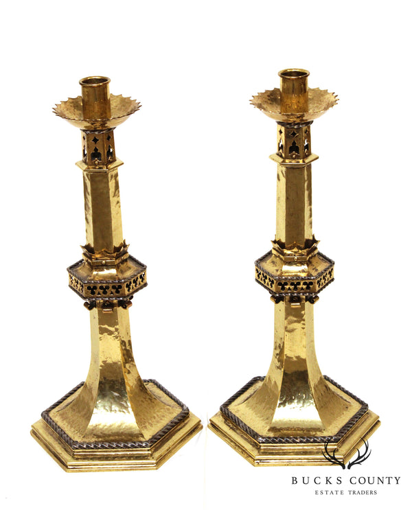 Gothic Revival Antique Pair Polished Hammered Brass Candlesticks