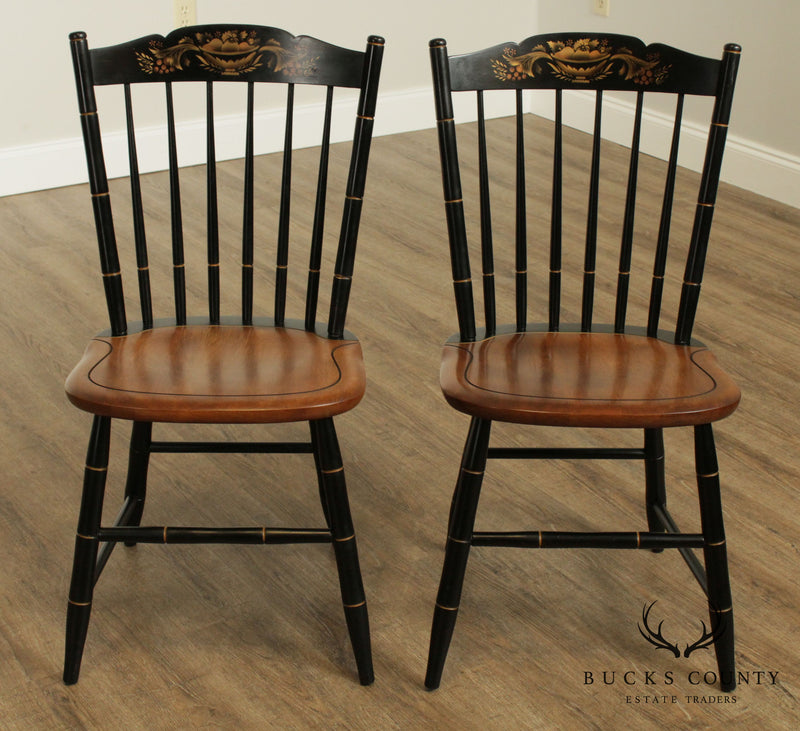 Hitchcock Black Stenciled Vintage Pair Windsor Side Chairs