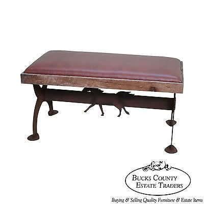 Custom Made Rustic Iron Horse Silhouette Leather Seat Bench
