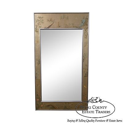 LaBarge Chinoiserie Eglomise Frame Beveled Glass Hanging Mirror