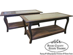 Pair of Exotic Wood Art Deco Coffee Table w/ Smoked Mirror Tops