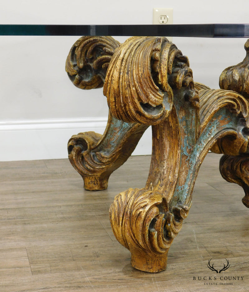 Rococo Style Vintage Carved Wood Glass Top Coffee Table