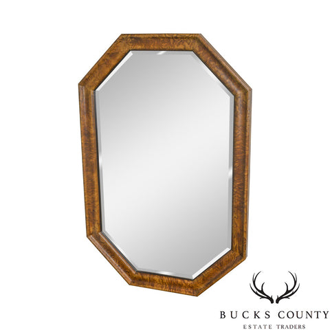 Henredon Charles X Collection Burl Wood Frame Beveled Wall Mirror