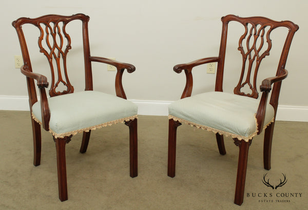 Chippendale Style Solid Mahogany Frame Pair Armchairs