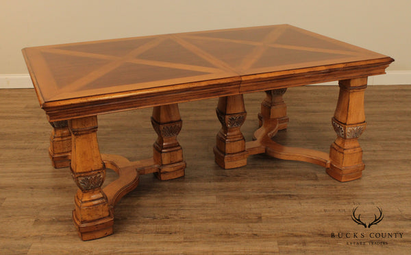 Drexel Heritage Villa Santina Baroque Style Parquet Top Expandable Dining Table