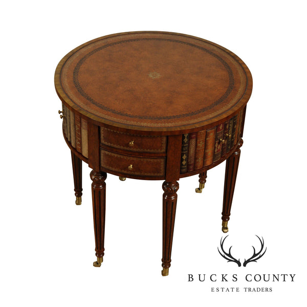 Maitland Smith Regency Style Round Mahogany Leather Top Drum Table, Faux Books