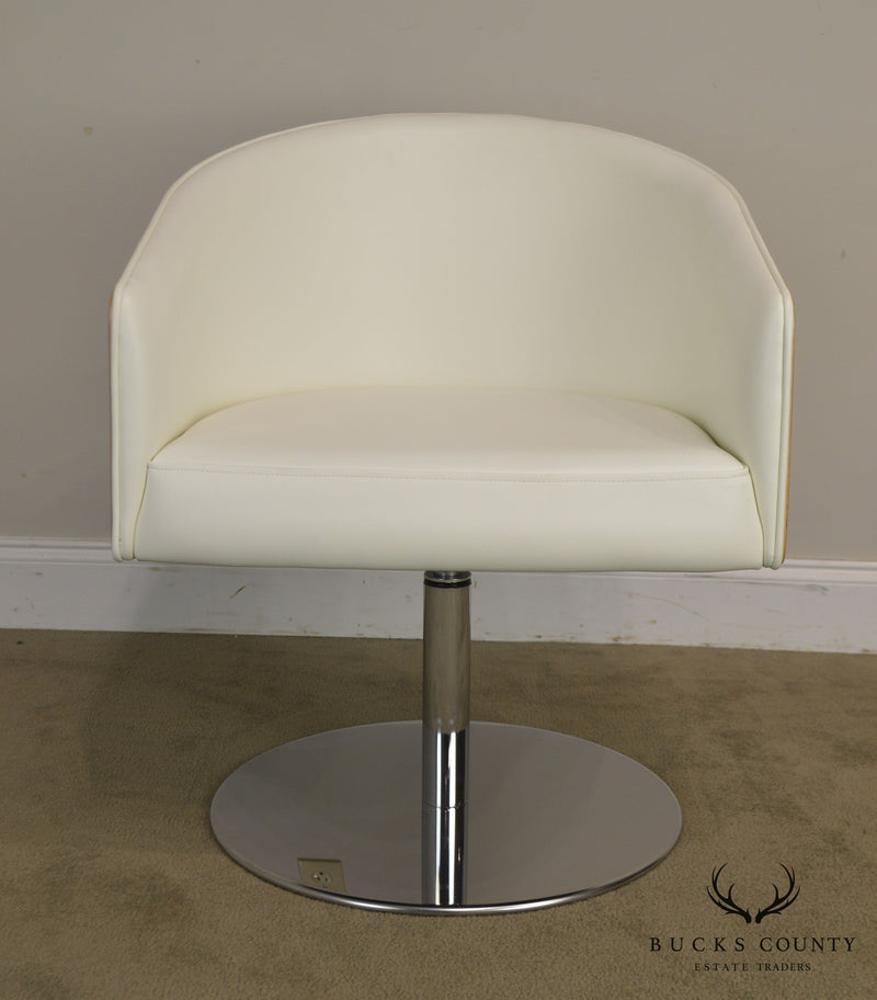 White Leather & Zebra Wood Barrel Back Pair Chrome Pedestal Swivel Lounge Chairs by Cape (E)
