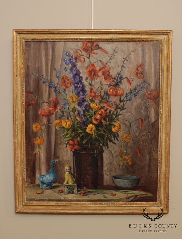 Susan Hayward Schneider Gilt Frame Still Life Oil Painting, Flowers