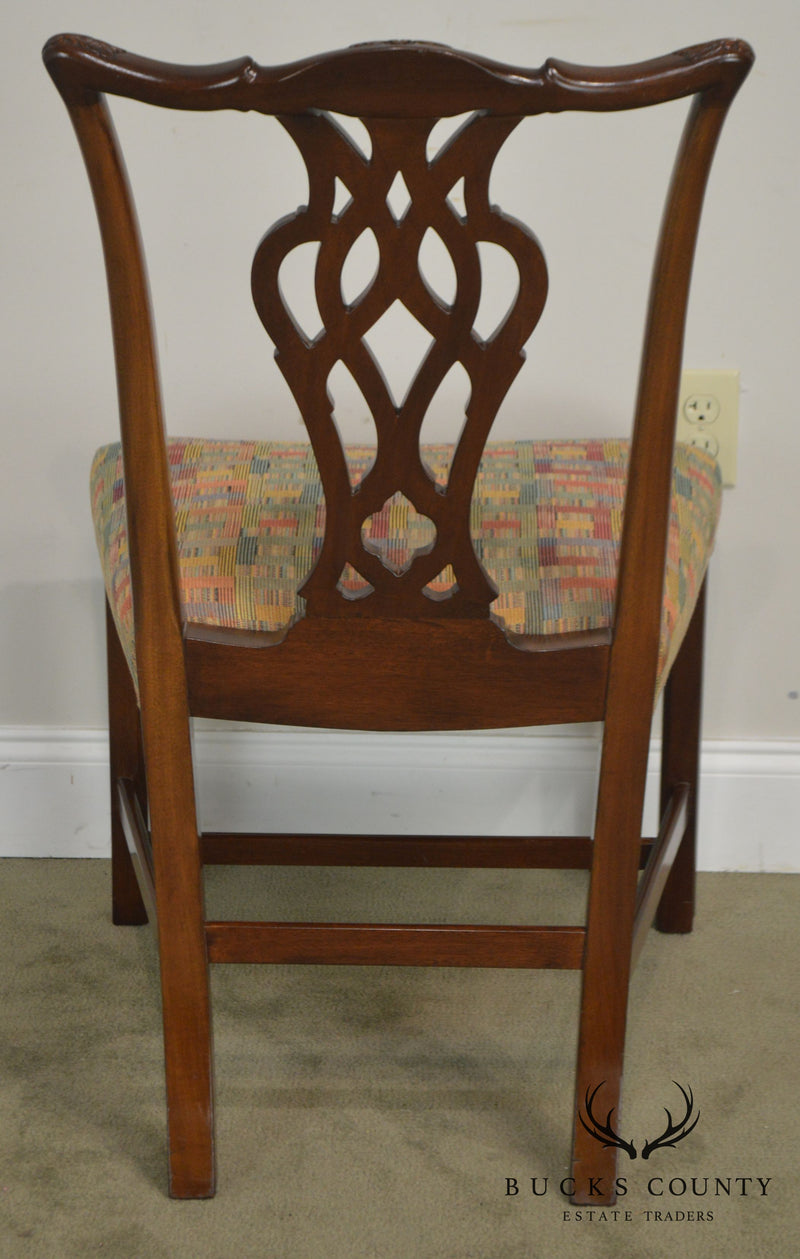 Chippendale Style Custom Quality Set of 8 Solid Mahogany Dining Chairs