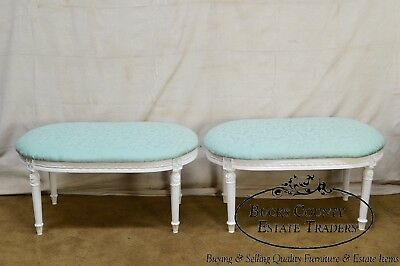 French Louis XVI Style Pair of White Painted Custom Upholstered Benches