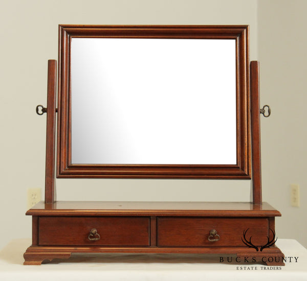 Chippendale Style Vintage Mahogany Dresser Top Shaving Mirror with Drawers