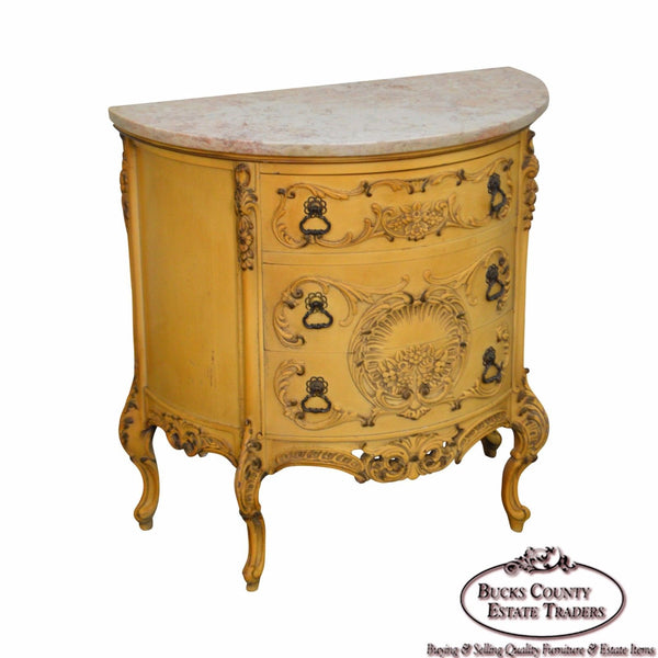 Vintage Painted Demilune Marble Top Rococo Style Commode Chest