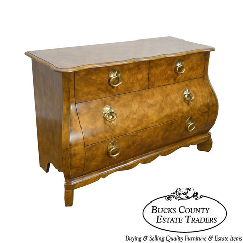 Baker Continental Style Bombe Walnut Commode Chest of Drawers