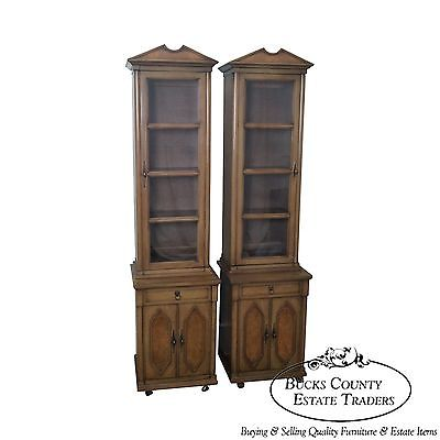 Vintage Pair of Narrow Regency Style Bookcases