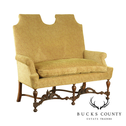 Jacobean Style Antique Walnut Base Upholstered Settee