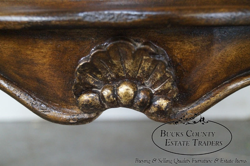 French Louis XV Style Bombe Leather Top Commode Nightstand