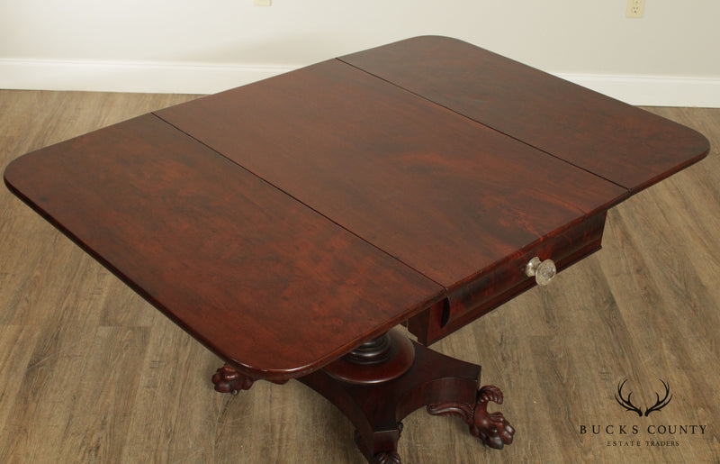 Anthony Quervelle Attributed Antique Classical Mahogany Drop Leaf Table