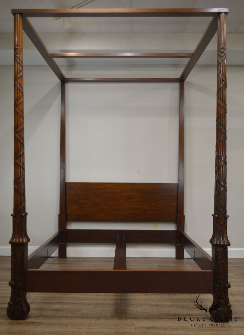 Baker Carved Mahogany Queen Size Canopy Poster Bed