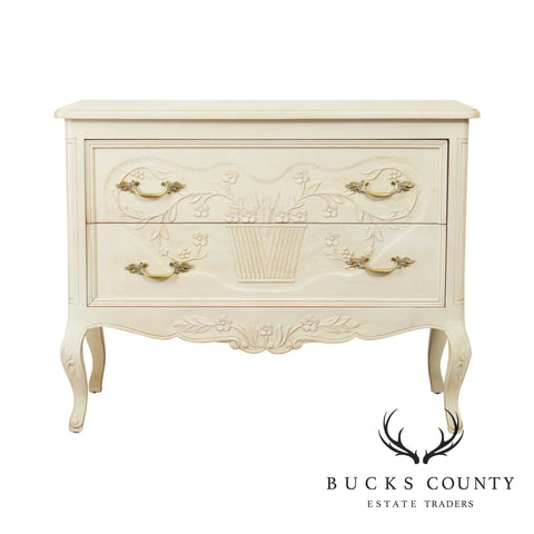 French Country Style White Painted 2 Drawer Commode Chest