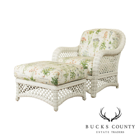 Lane Venture White Wicker Four Seasons Lounge Chair with Ottoman