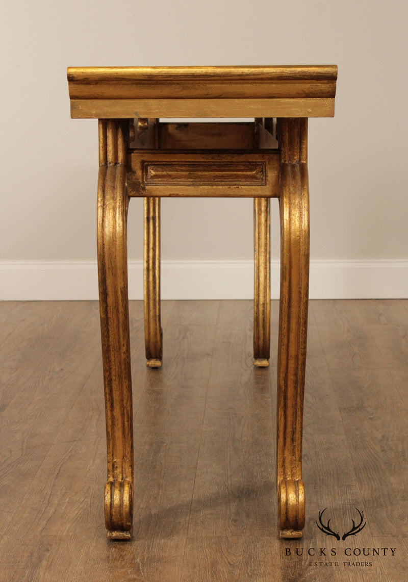 Hollywood Regency Vintage Gold Gilt Console Table