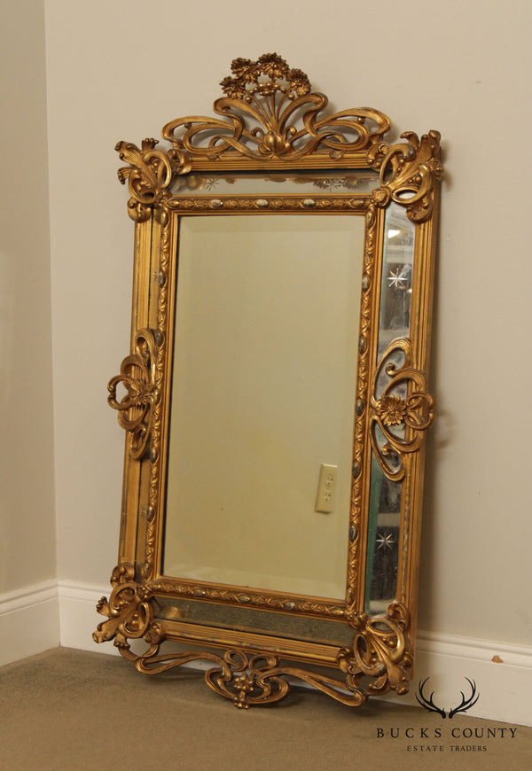 Art Nouveau Antique Gilt Frame Wall Mirror