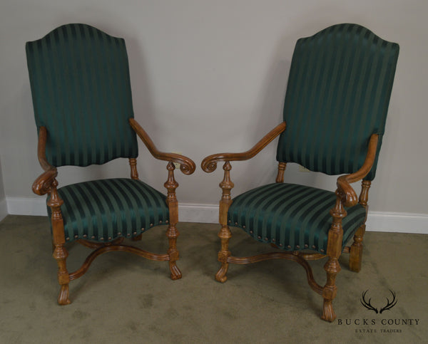 Spanish Baroque Style Custom Quality Pair of Throne Armchairs