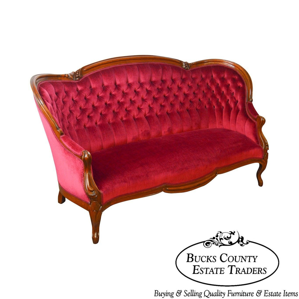 Victorian Walnut Antique Red Tufted Sofa – Bucks County ...