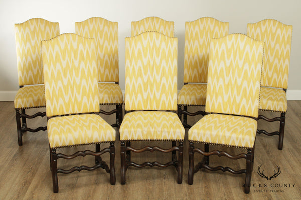 French Louis XIII Style Custom Set 8 OS De Mouton Dining Chairs