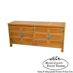 Mid Century Modern Light Walnut Long Dresser by United Furniture Corp