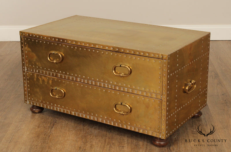 Sarreid Vintage Brass Clad 2 Drawer Low Chest, Trunk