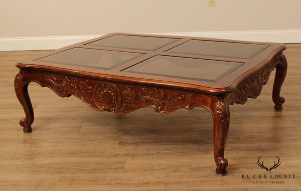 Henredon French Louis XV Style Walnut Carved Coffee Table