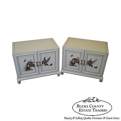 Quality Pair of Hand Painted Asian Style Nightstands