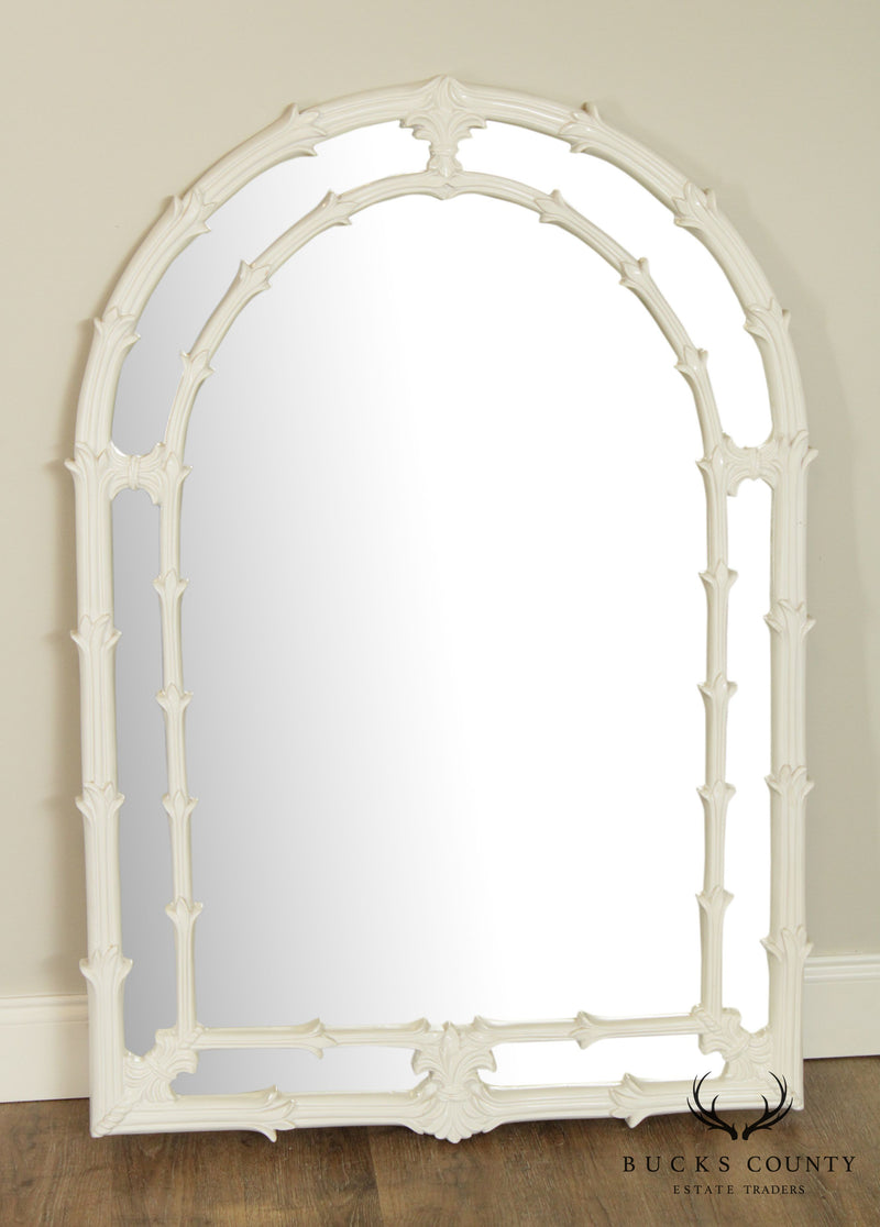 Gampel Stoll Hollywood Regency Vintage White Lacquered Wall Mirror