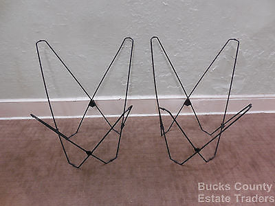 Mid Century Modern Pair of Folding Iron & Canvas Butterfly Chairs