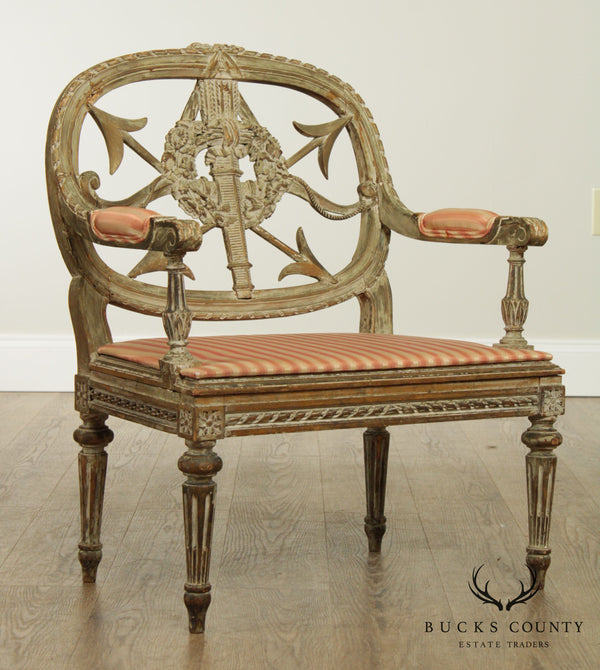 French Louis XV Antique 19th Century Directoire Low Boudoir Chair