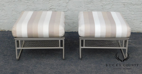 Woodard Sculptura Pair of Patio Ottomans