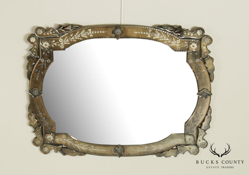 Quality Vintage Venetian Etched Glass Wall Mirror