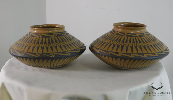 Gloria Hernandez Pottery Southwestern Indian Mexican Pair Pillow Pot Vases