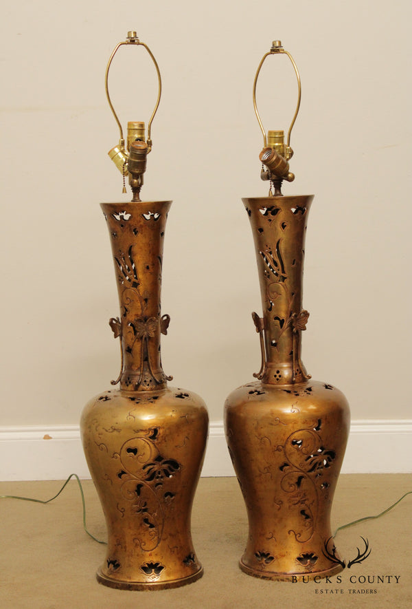 Art Nouveau Style Vintage Pair Bronze Table Lamps with Butterfly Designs