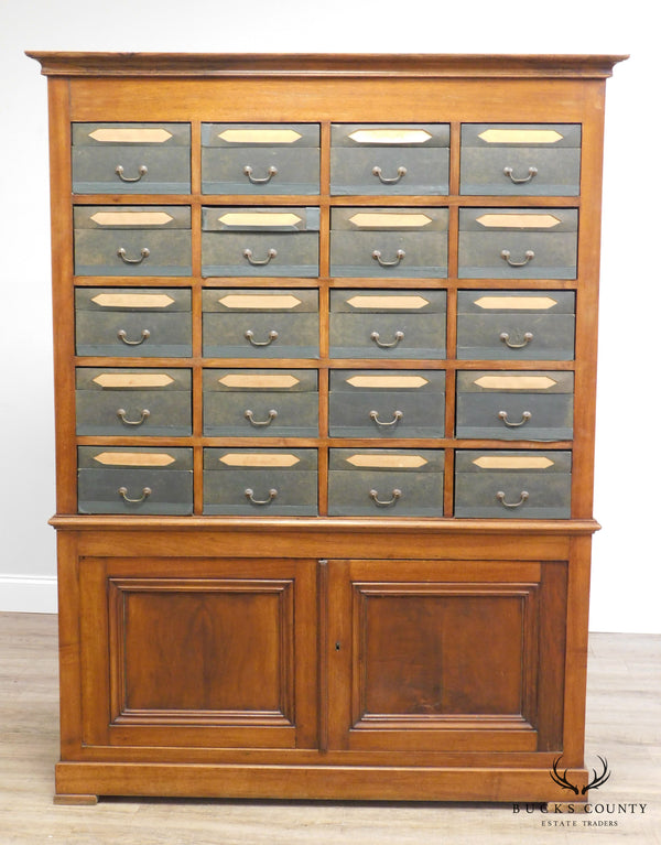 Antique 19th Century French Louis Philippe Style Mahogany Cartonnier 20 Drawer File Cabinet