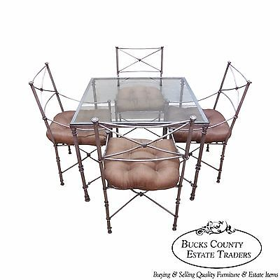Quality Iron Neo Classical Directoire Style 5 Piece Table & Chairs Dining Set