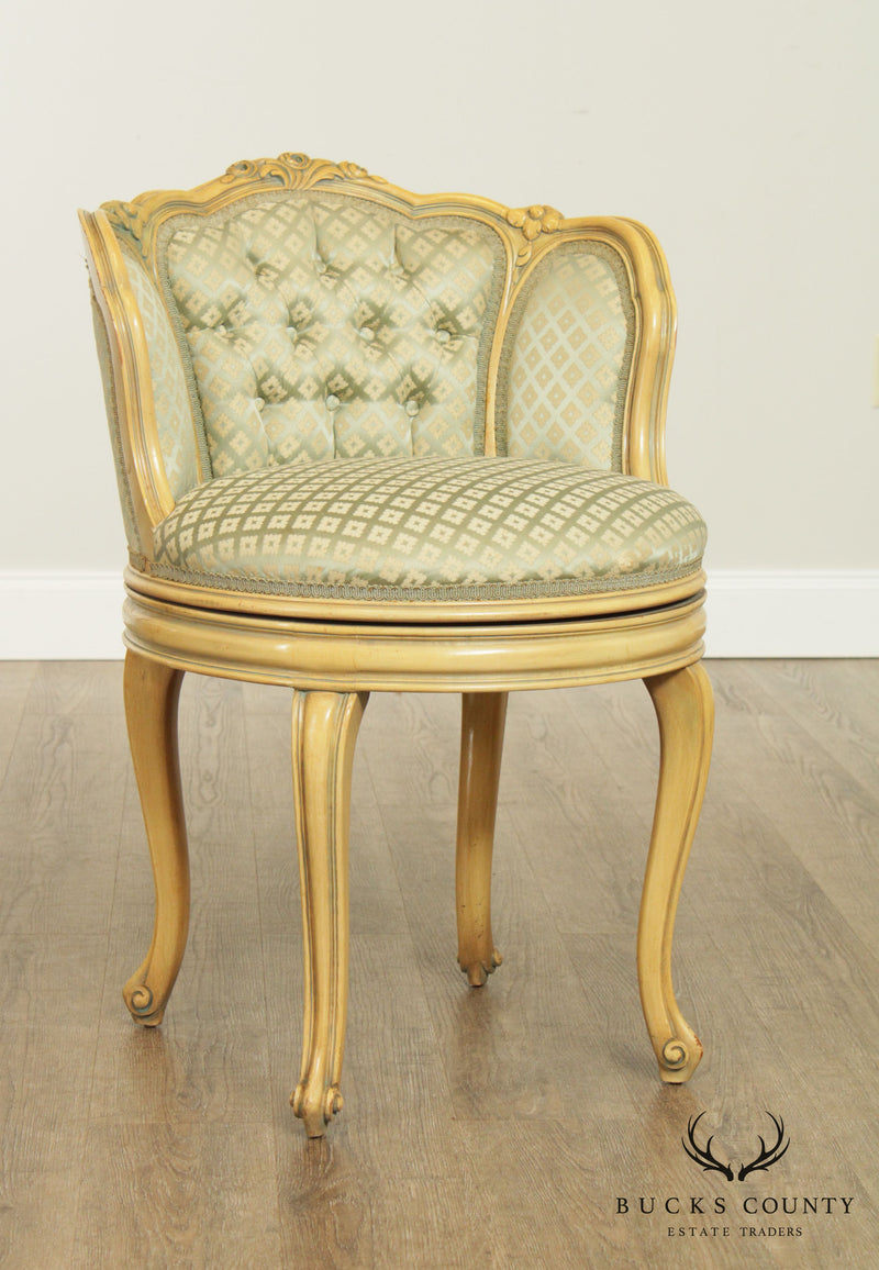 French Louis XV Style Vintage Painted Swivel Upholstered Vanity Chair