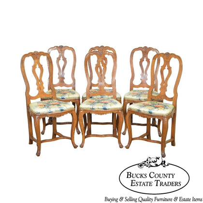 Italian Walnut Vintage Set of 6 Louis XV Style Dining Chairs