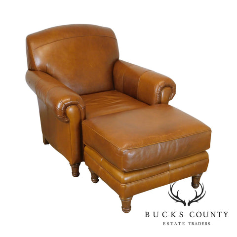 Carmel Brown Leather Club Chair with Ottoman
