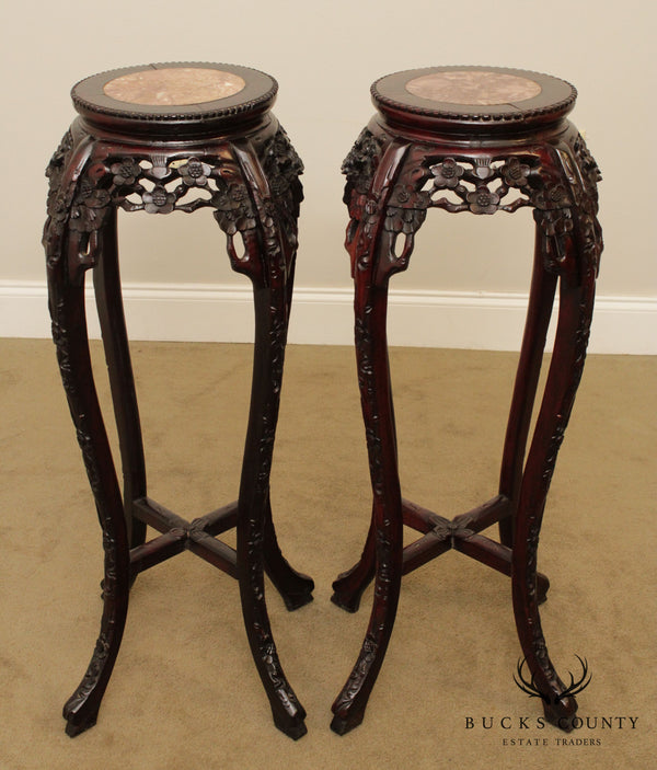 Chinese Rosewood Pair Marble Top Plant Stands Pedestals