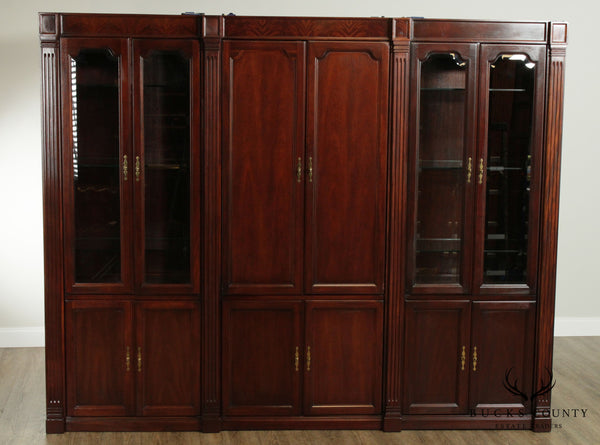 Custom Crafted Solid Mahogany 106 inch Long Bookcase Display Unit