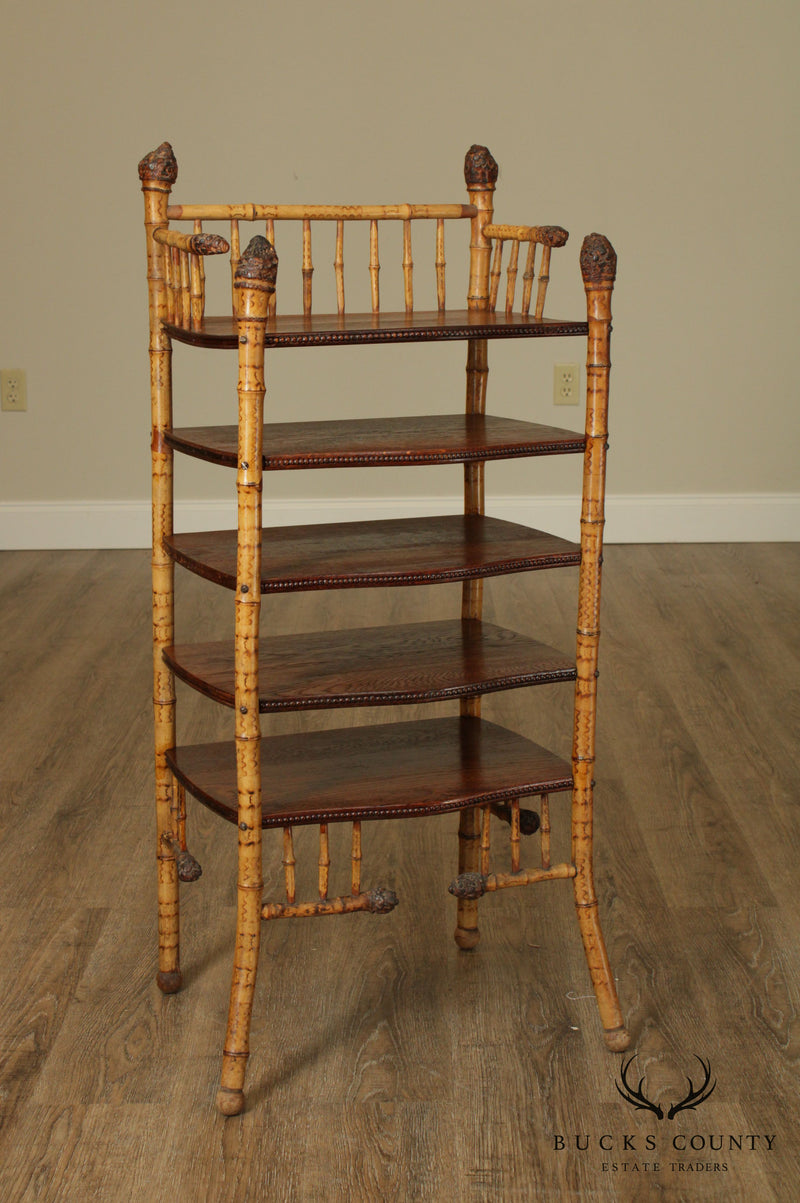 Antique Victorian Bamboo & Oak Etagere Book Shelf