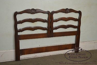 French Country Style Vintage Walnut Queen Size Ladderback Headboard