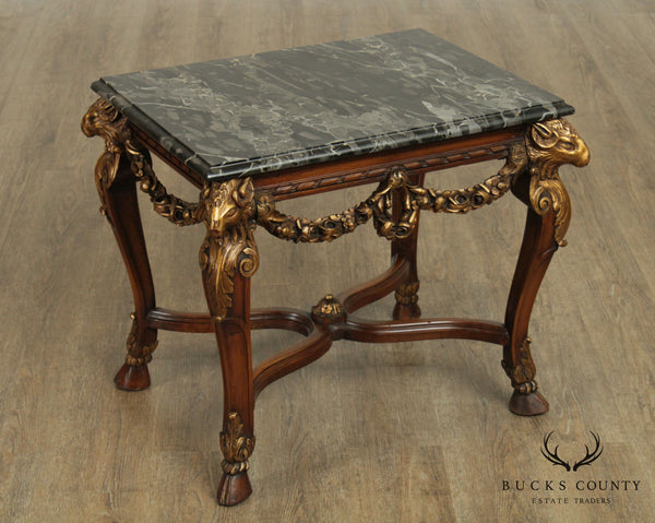Italian Walnut Vintage Gilt Carved Rams Head Marble Top Coffee or Side Table